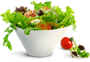 Healthy and balanced salad with a cherry tomato on the side from The Future Foods