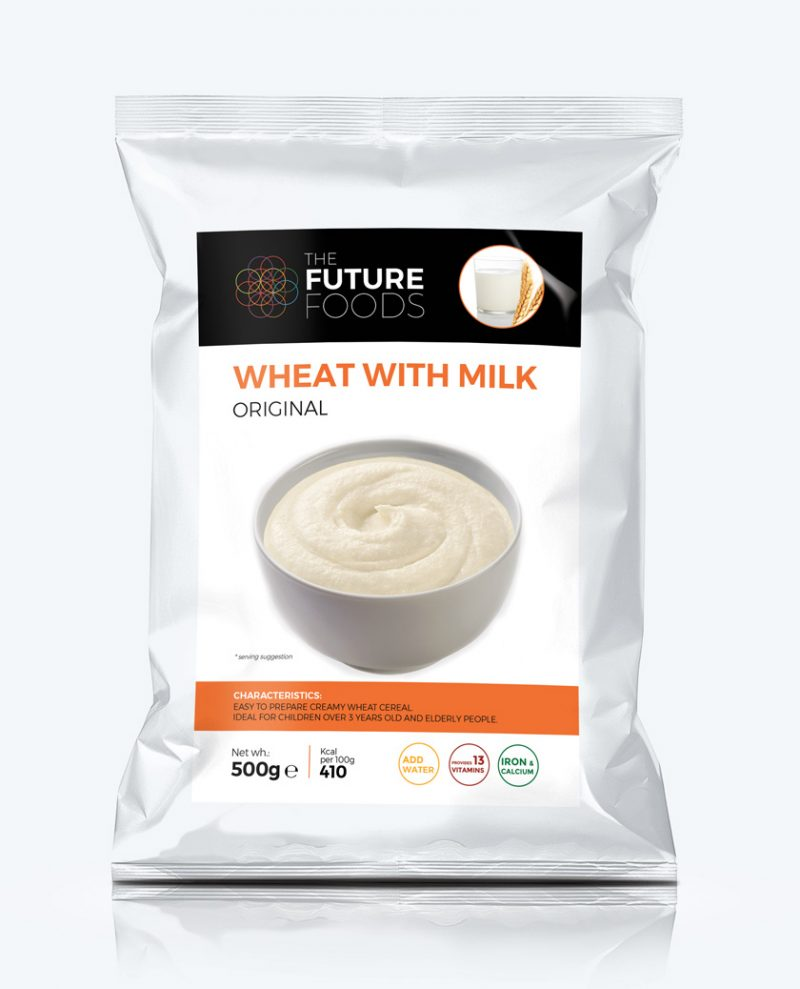 Wheat based cereal with milk powder